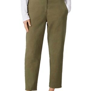 Eileen Fisher Olive Organic Cotton Ankle Pant 10
